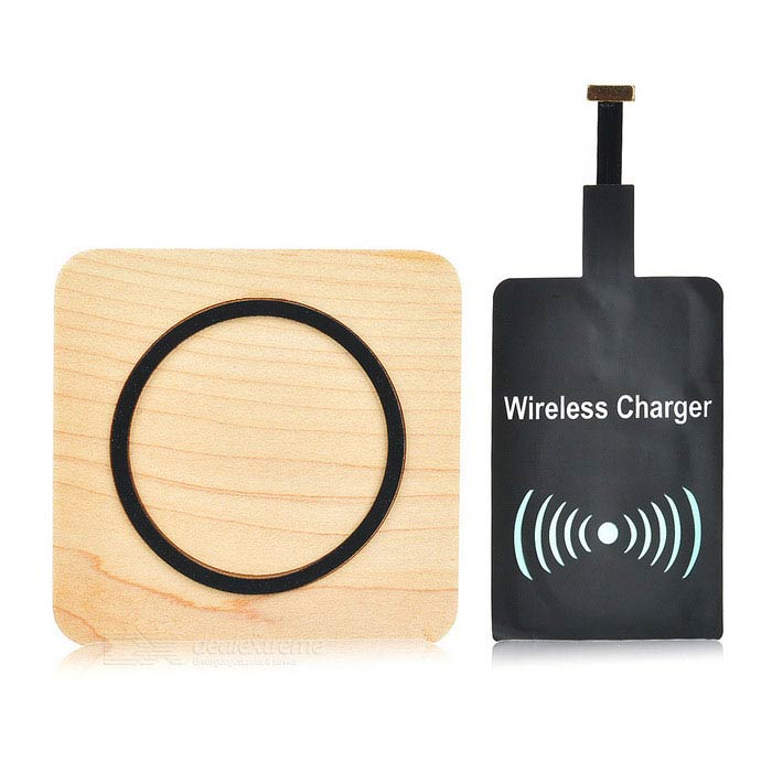 Square Qi Wireless Charging Pad + Wireless Charger - Wood Color