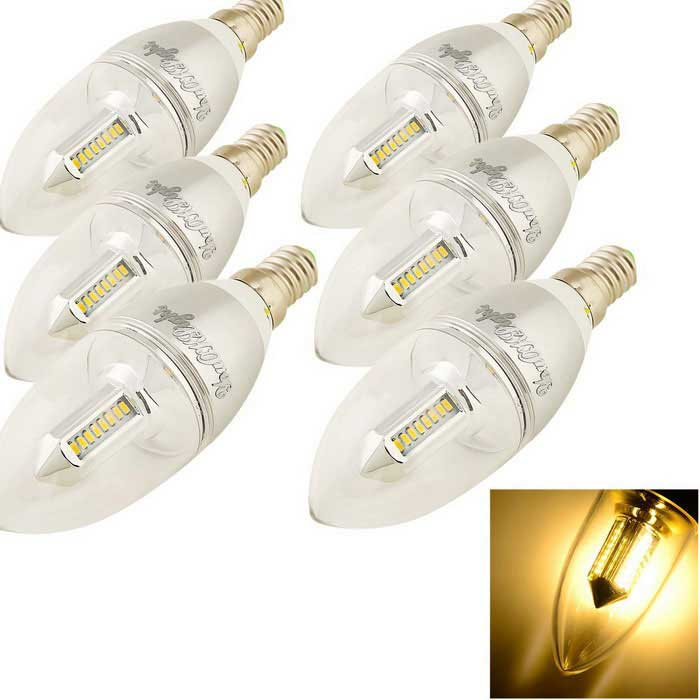 YouOKLight E14 3W 300lm 32-SMD LED Warm White Candle Light Bulb (6PCS)