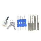 Transparent Practice Lock + Comb Style Stainless Steel Lock Picks + Single-Hook Picking Tools Set