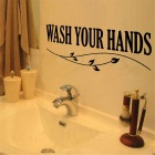 English Words Quotes WASH YOUR HANDS Pattern Wall Decal PVC Wall Sticker - Black