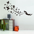 Cartoon Butterfly Flower Pattern Wall Decal PVC Wall Sticker - Black