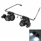 Glasses Style 20X Magnifier w/ White LED Light (4 x CR1620) - Black