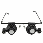 Glasses Style 20X Magnifier w/ White LED Light (4 * CR1620) - Black