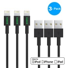 CARVE 8Pin Lightning to USB 2.0 Data Sync / Charging Cable for IPHONE 6 / IPAD - Black (1m / 3PCS)