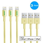 CARVE 8Pin Lightning to USB 2.0 Data Sync / Charging Cable for IPHONE 6 / IPAD - Yellow (1m / 3PCS)