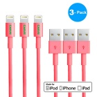 CARVE 8Pin Lightning to USB 2.0 Data Sync / Charging Cable for IPHONE 6 / IPAD - Pink (1m / 3PCS)