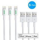 CARVE 8Pin Lightning to USB 2.0 Data Sync / Charging Cable for IPHONE 6 / IPAD - White (1m / 3PCS)