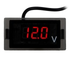 LED Red Light Display Digital Voltmeter - Black (12V)