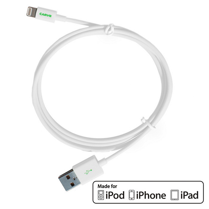 CARVE 8Pin relámpago al cable del USB 2.0 para IPHONE 6, IPAD - blanco (1m)
