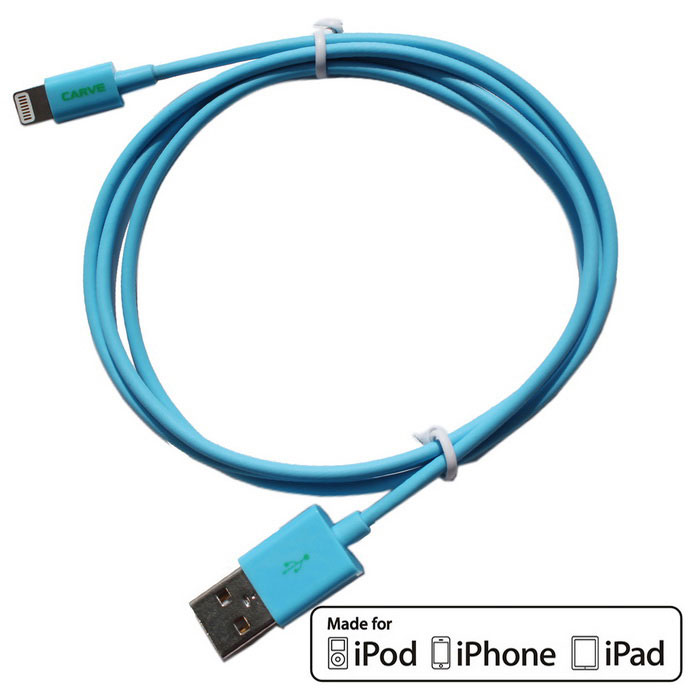 CARVE 8Pin relámpago al cable del USB 2.0 para IPHONE 6, IPAD - azul (1m)