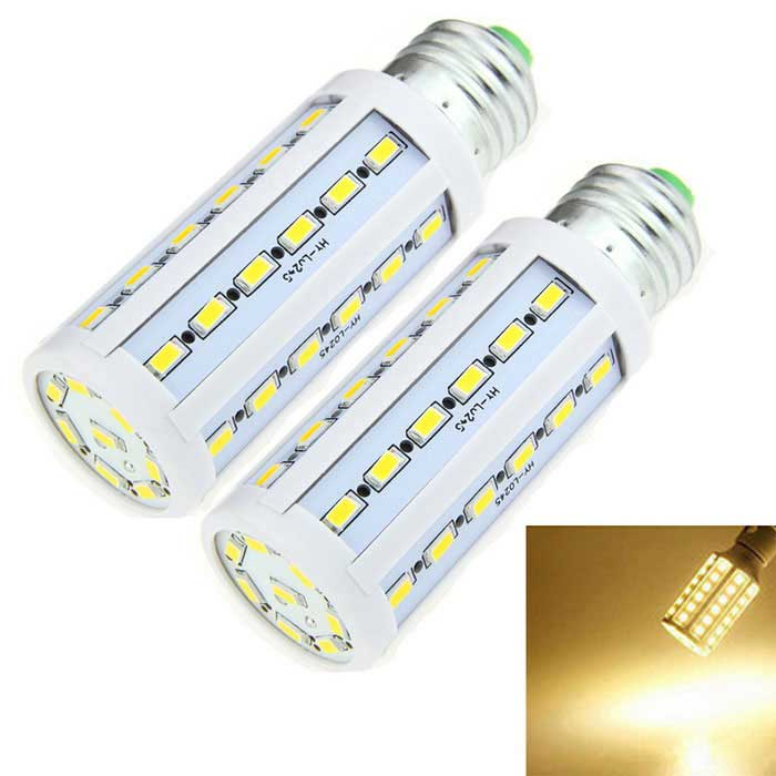 E27 10W LED Corn Bulb Lamp Warm White 3000K 44-SMD - White (2PCS)