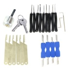 Transparent Practice Lock + 9-Piece Lock Picks + Comb Style Lock Picking Tools Set w/ 2 Keys