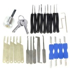Transparent Practice Lock + 9-Piece Lock Picks + Comb Style Picks + Single-Hook Picking Tools Set