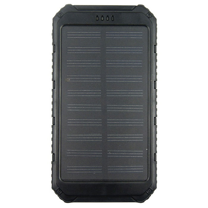 Solar Powered 8000mAh Power Bank w/ Flashlight - Black