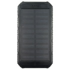 Solar Powered 5V 8000mAh Li-polymer Battery Charger Power Bank w/ Flashlight - Black