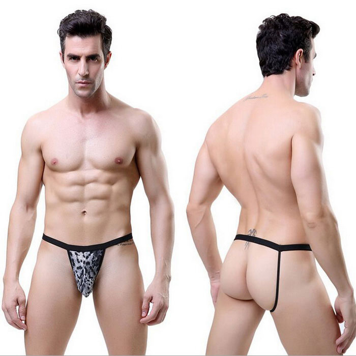 Slogan sexy da correia do spandex da cópia do leopardo dos homens g-string breves - leopardo preto
