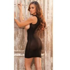 Women's Sexy Slim Open Breasts One-Piece Mini Dress Lingerie - Black