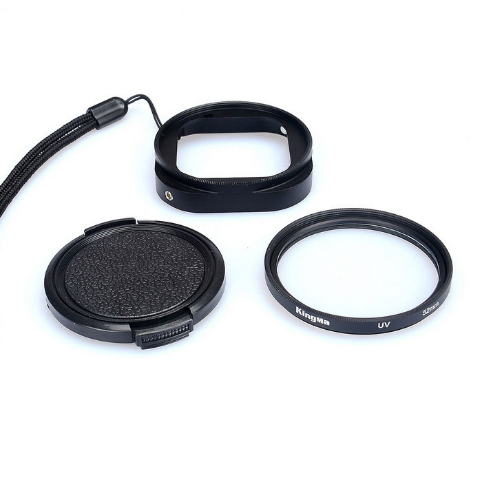 Kingma 52mm Filter Adapter + UV Lens Filter + Case Kit voor GoPro Hero 4 Session Zwart