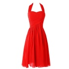 BAITUYA Simple Halter Knee Length Red Chiffon Bridesmaid Gown for Teens - Red (XL)