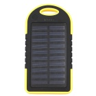 5000mAh Solar Powered Power Bank for Smartphones / Tablets / GPS + More - Black + Yellow