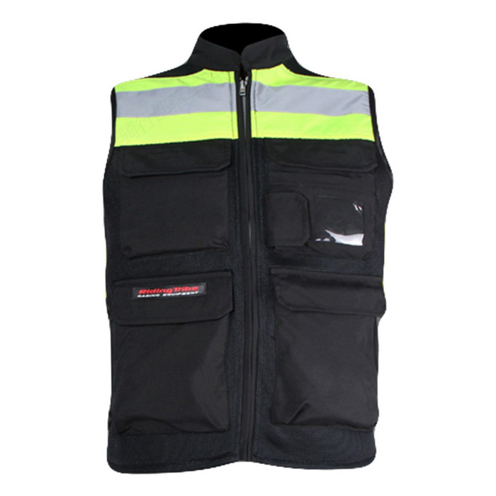 RidingTribe Reflective Riding Safety Vest - Black + Yellow Green (XL)