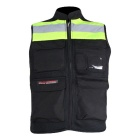 RIDING TRIBE Light Reflective Motorcycle Riding Safety Vest Waist Coat - Black + Yellow Green (XL)