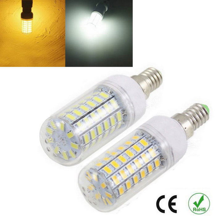 E14 12W Corn Bulb Warm White + Cold White 1200lm 69-5730 SMD (2PCS)