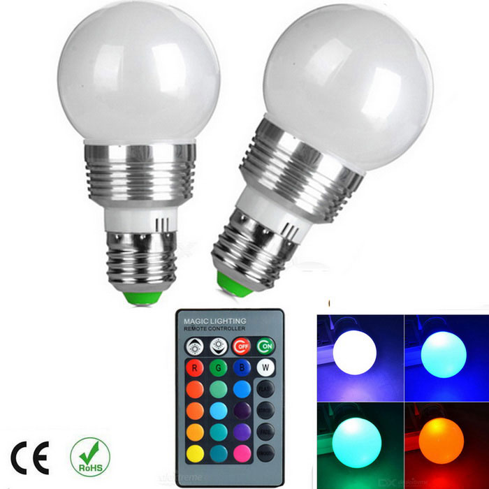 E27 Dimmable 3W RGB Bulb Lamp 120lm w/ Remote Controller (RGB Sync)