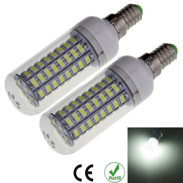 E14 12W Corn Bulb Cold White Light 1200lm 72-SMD 5730 (2pcs)E14<br>Form  ColorWhite + TranslucentColor BINCool whiteMaterialPlastic + aluminumQuantity2 DX.PCM.Model.AttributeModel.UnitPower12WRated VoltageAC 220-240 DX.PCM.Model.AttributeModel.UnitConnector TypeE14Chip TypeLEDEmitter TypeOthers,5730 SMDTotal Emitters72Theoretical Lumens1600 DX.PCM.Model.AttributeModel.UnitActual Lumens1000~1200 DX.PCM.Model.AttributeModel.UnitColor Temperature6500KDimmableNoBeam Angle360 DX.PCM.Model.AttributeModel.UnitCertificationCE, RoHSPacking List2 x LED bulbs<br>