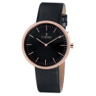 Genuine Fjord FJ-3010-05 Gunnar Rose Gold Black Leather Watch - Black