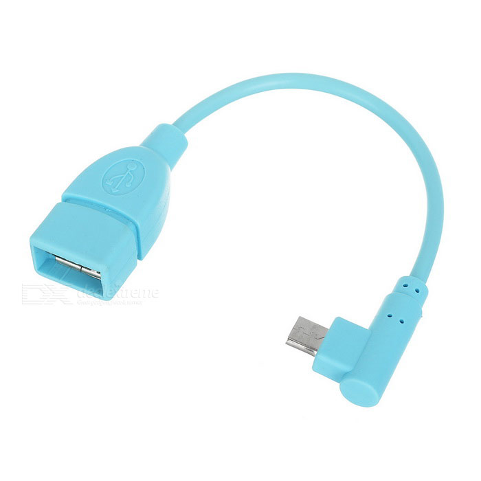 Micro USB M 90' Angled to USB 2.0 Data Cable - Blue (16.5cm)