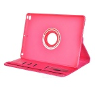Rotary Protective Case w/ Auto-Sleep, Stand for IPAD AIR 2 - Deep Pink