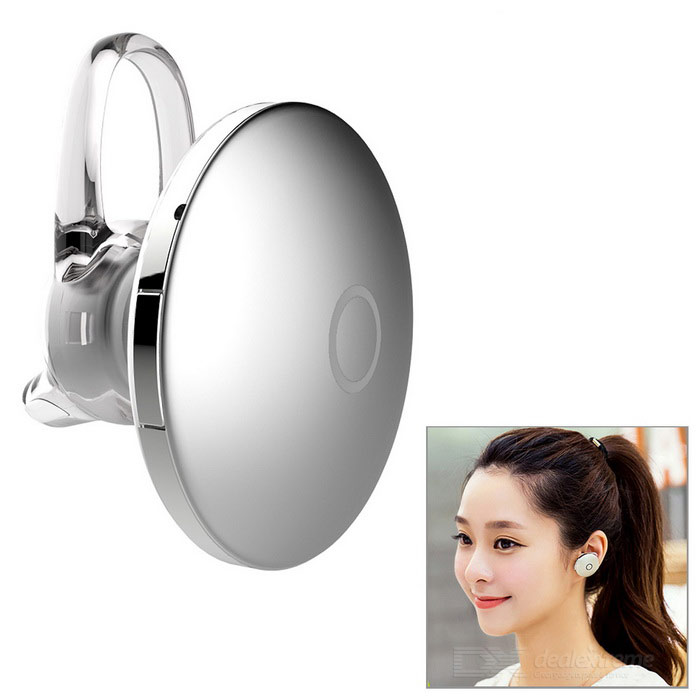 Round Shaped Bluetooth In-Ear Headset w/ Mic - Silver + Silvery White