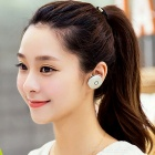 Round Shaped Bluetooth V4.1 In-Ear Headset w/ Mic - Silver + White