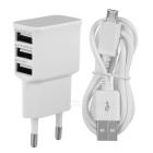 3-USB EU Plug Power Adapter w/ Micro USB Data Charging Cable - White