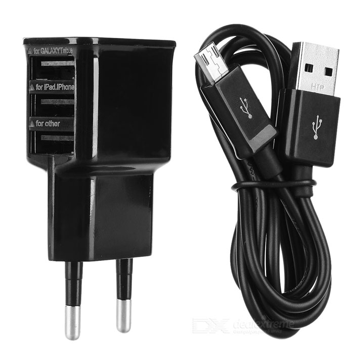 3-USB EU Plug Power Adapter w/ Micro USB Data Charging Cable - Black
