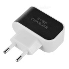 3-USB EU Plug Power Adatper + Micro USB Charging Cable - Black+White