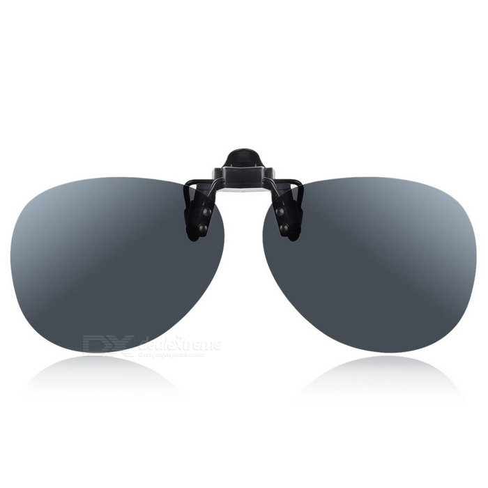 Stylish Resin Clip-on Polarized Frameless Sunglasses - Black