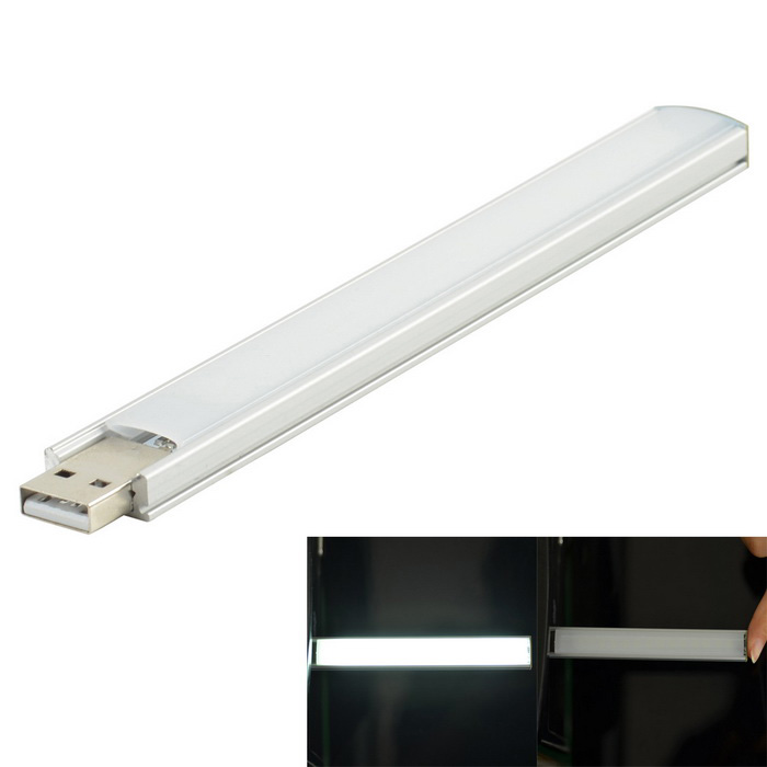 4W 14-LED White USB Light Bar Lamp w/ Touch Switch - Silver + White