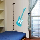 Music Class Guitar Wall Decal PVC Wall Sticker - White + Light Blue