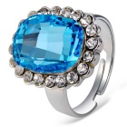 Women's Elliptical Blue Crystal Inlaid Finger Ring - Silver (US Size 8)