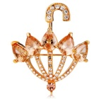 Small Umbrella Style Crystal Brooch - Gold