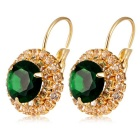 Women's Fashionable Round Rhinestones Inlaid Crystal Ear Hooks Earrings - Golden (Pair)