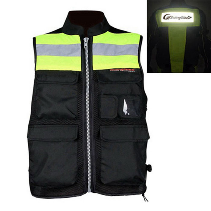 RidingTribe JK-32 Reflective Safety Vest for Riding - Black+Green (L)