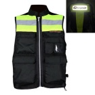 RIDING TRIBE JK-32 Light Reflective Safety Vest Waistcoat for Motorcycle Riding - Black + Green (L)