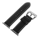 Italian Leather Watchband w/ Screwdriver for Apple Watch 38mm - Black