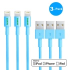 MFI CARVE Lightning 8-Pin Male to USB Male Cable for IPHONE, IPOD, IPAD - Blue (1m)