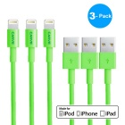 MFI CARVE Lightning 8-Pin Male to USB Male Data Cable for IPHONE / IPAD / IPOD - Green (3 PCS)