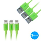 CARVE relámpago 8-Pin M al cable del USB M para IPHONE - verde (1m, 3PCS)