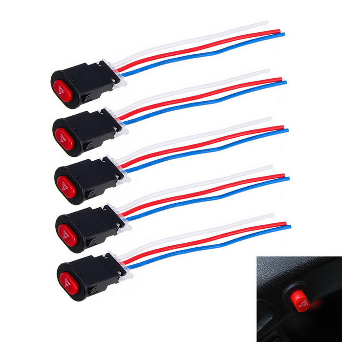 Push Button Switches for Motorcycle / Electrocar - Black + Red (5PCS)